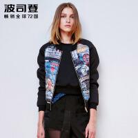 波司登(BOSIDENG)秋冬短款欧美女款轻薄棒球衫羽绒服B1501036