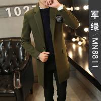 冬季新款青年羊毛呢子大衣男中长款韩版修身毛呢外套英伦妮子风衣