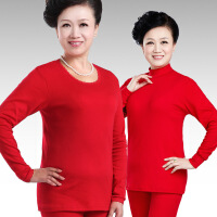 中老年秋衣秋裤女士纯棉保暖内衣本命年大红色大码加肥棉毛衫套装