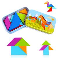 现代七巧板智力拼图铁盒儿童早教台湾教学版幼儿益智积木3-4-6岁