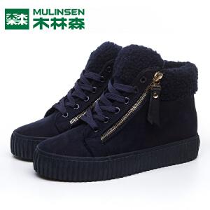木林森女鞋冬季新款加绒保暖高帮加厚棉鞋短筒学生韩版雪地靴短靴