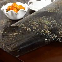 磨砂透明茶几餐桌垫隔热垫免洗长方形软玻璃PVC桌布 黑金夹花 夹花加厚1.5mm