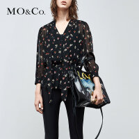 MOCO夏季新品两件套衬衫碎花V领上衣MA182TOP106 摩安珂