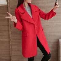 2017冬季新款韩版大码黑色毛呢外套中长款宽松加厚羊毛呢子