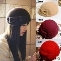 韩版 英伦帽子女秋冬季复古羊毛呢蝴蝶结礼帽贝雷帽画家帽空姐帽