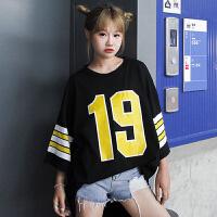 夏季新款女装韩版宽松原宿印花中长款休闲上衣学生条纹七分袖T恤
