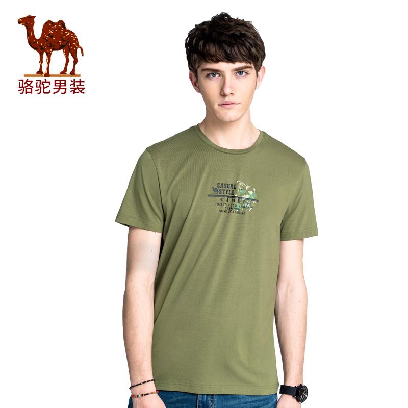 骆驼男装 2018年夏季新款年青年休闲短袖T恤 纯色圆领印花上衣