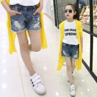 女童牛仔短裤夏季个性破洞时尚薄款中大童儿童热