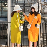 七格格长袖连衣裙2019新款冬中长款过膝裙子女韩版时尚气质针织裙