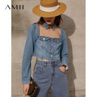 Amii极简短款炸街牛仔外套女2021年早春新款网红性感小个子上衣
