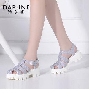 Daphne/达芙妮女鞋夏季时尚包头镂空粗跟扣带女凉鞋