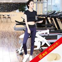 瑜伽服套装女秋冬速干健身房紧身服跳操跑步运动裤显瘦瑜珈衣 k10短黑+D1001紫灰 送XD