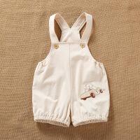 活力熊仔 童装夏季新品天然彩棉婴儿服装 宝宝连体衣卡通图案开裆设计吊带衣