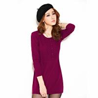 秋冬装新款羊绒衫女套头毛衣中长款圆领百搭纯羊绒打底连衣裙