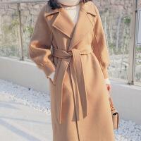 2018秋季新款冬季外套女反季大衣赫本风毛呢中长款韩版2018新款妮子双面羊绒潮