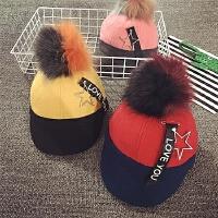 儿童鸭舌帽秋冬大毛球保暖宝宝帽子1-2岁男女婴儿帽6--24个月潮