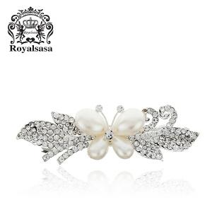皇家莎莎Royalsasa韩版头饰时尚流行纯美百搭款合金人造水晶贝珠发夹发饰 玲珑蝶舞