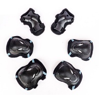轮滑护具6件套护膝护腕套装 儿童男女滑冰旱冰溜冰鞋滑板手套 黑色 S