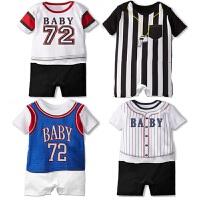 新款连身衣 爬服 夏季 薄款 篮球 运动棒球婴儿短袖哈衣 条纹印花连身衣服