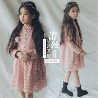 韩版女童装春款2018长袖蕾丝连衣裙母女装中大童订珠公主风连衣裙
