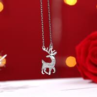 银项链女银鹿锁骨链韩版学生森系闺蜜简约女士礼物 一路有你 麋鹿项链