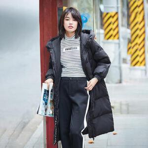 高梵 冬季新款时尚连帽简约织带长款羽绒服女 保暖面包服外套