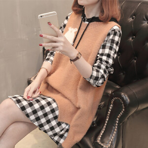 衬衫女中长款2018新款韩版圆领马甲毛衣背心宽松格子长袖潮两件套