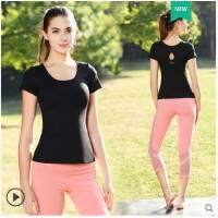 户外瑜伽服上衣 时尚女跑步运动健身显瘦紧身速干瑜珈大码短袖T恤