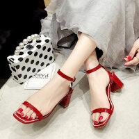 中跟女士凉鞋户外韩版百搭仙女风一字带配裙子的女鞋
