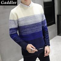 Gaddlee2017潮男时尚圆领套头粗毛线横条长袖毛衣
