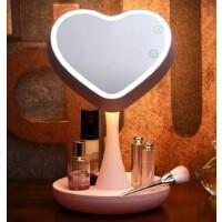创意化妆镜移动电源宝带LED补光灯便携小巧折叠美妆镜礼物 甜蜜粉化妆镜灯 紫罗兰牛角木梳