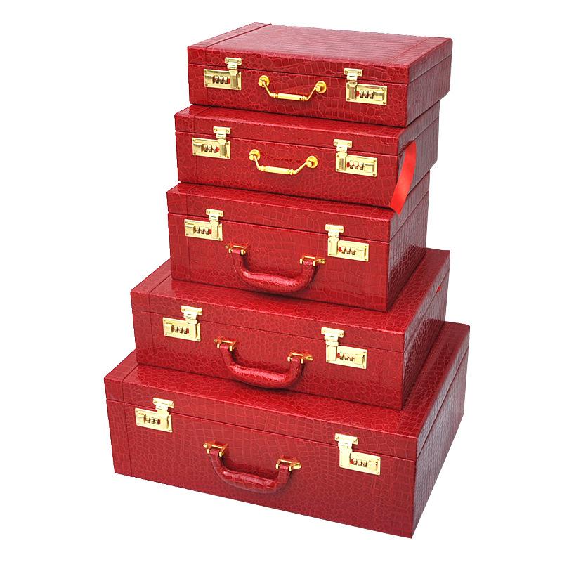 结婚下聘礼聘金盒订婚彩礼礼金盒装10-100万现金黄金首饰金器盒子  24寸加大60*42*25cm 装90-150万 发货周期:一般在付款后2-90天左右发货,具体发货时间请以与客服协商的时间为准