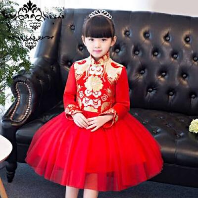 中国风儿童礼服儿童旗袍裙长袖儿童新年装女童蓬蓬裙中式公主裙