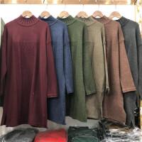 H2毛衣女秋冬中长款半高领 宽松打底衫韩版套头长袖麻花针织衫0.5
