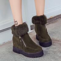 2017冬季韩版新款雪地靴子女式短靴加绒平底内增高短筒棉鞋学生潮