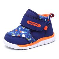 史努比童鞋男童冬季新款保暖儿童运动鞋加绒加厚童鞋