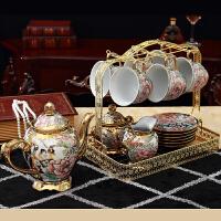 欧式陶瓷摆件客厅电视柜酒柜创意家居装饰品茶几摆设结婚礼物 16件套茶具摆件