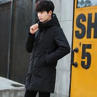 冬季新款男装纯色连帽男士中长款羽绒服加厚保暖修身韩版青年外套 黑色 M