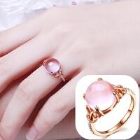韩国版芙蓉石粉水晶森系戒指环玫瑰金女士款食指个性开口学生饰品