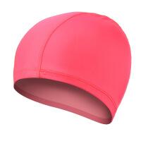 新款纯色布泳帽 舒适温泉不勒头游泳帽 男士女士儿童通用 粉红色(有色差 请慎拍)