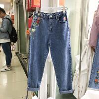 韩国ulzzang2018春装新款复古风刺绣高腰牛仔裤女蓝色直筒长裤潮