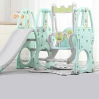 儿童滑滑梯秋千组合小型室内家用游乐园幼儿园宝宝小孩滑梯玩具 薄荷绿三合一(无音乐) 领�涣⒓�50