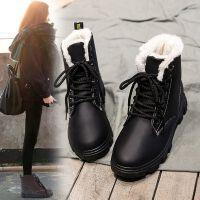 冬季加绒马丁靴女百搭韩版学生保暖棉鞋英伦风短筒雪地靴