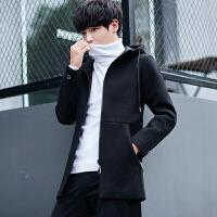 秋冬羊毛大衣男中长款毛呢外套毛呢大衣男士修身呢子风衣男外套潮 黑色