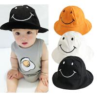 婴儿帽子夏天女宝宝遮阳帽新生儿男太阳帽笑脸盆帽防晒软帽渔夫帽