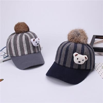 儿童帽子秋冬天男童鸭舌帽韩版潮女童1-5岁宝宝毛呢帽小孩马术帽