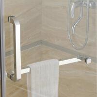 304不锈钢淋浴房L形方管拉手孔距300*450mm浴室推拉门玻璃门把手