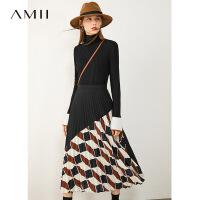 Amii�O�撞色印花百褶半身裙2020秋季新款A字裙中�L款黑色裙子女