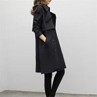 黑色风衣女中长款韩版春季2017新款修身显瘦宽松大码外套女春秋季