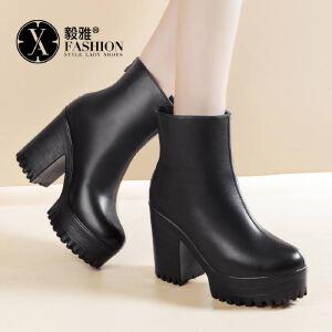 【毅雅】女鞋秋冬新款高跟防水台后拉链英伦风圆头中筒厚底女靴